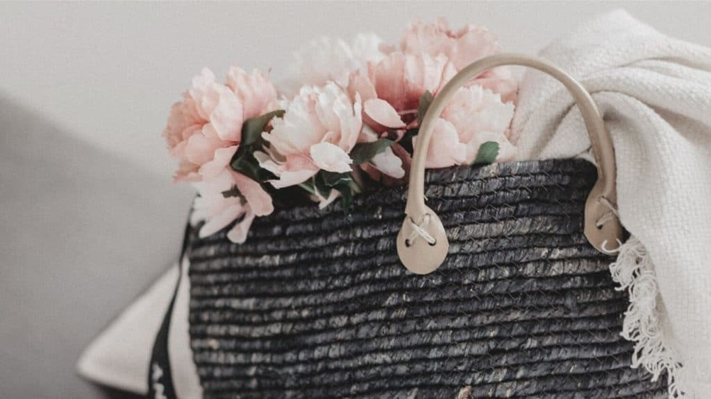 tote bag filled with flowers