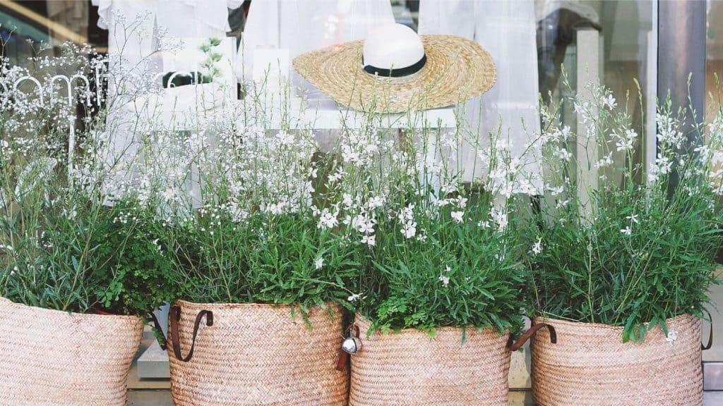 basket planters with flowering plants straw hat