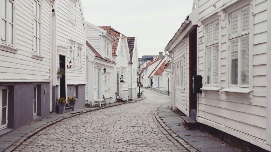 narrow cobblestone street through neighborhood