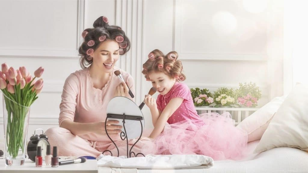 mother daughter curlers makeup
